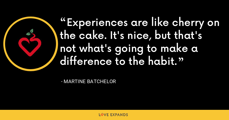 Experiences are like cherry on the cake. It's nice, but that's not what's going to make a difference to the habit. - Martine Batchelor