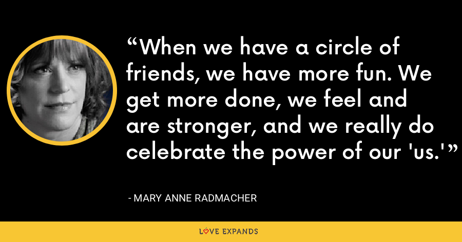 When we have a circle of friends, we have more fun. We get more done, we feel and are stronger, and we really do celebrate the power of our 'us.' - Mary Anne Radmacher