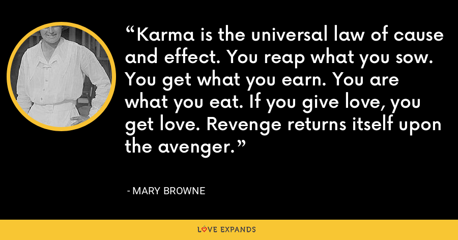 Karma is the universal law of cause and effect. You reap what you sow. You get what you earn. You are what you eat. If you give love, you get love. Revenge returns itself upon the avenger. - Mary Browne