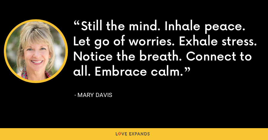 Still the mind. Inhale peace. Let go of worries. Exhale stress. Notice the breath. Connect to all. Embrace calm. - Mary Davis