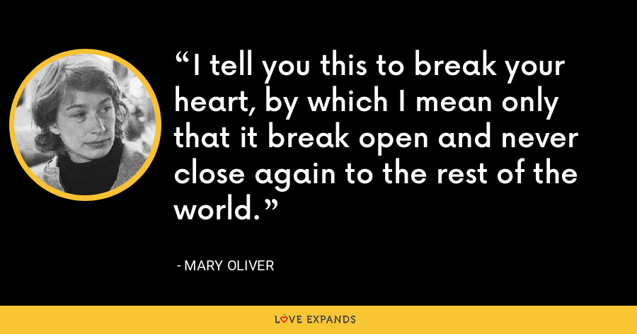 I tell you this to break your heart, by which I mean only that it break open and never close again to the rest of the world. - Mary Oliver