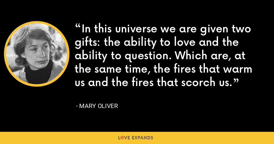 In this universe we are given two gifts: the ability to love and the ability to question. Which are, at the same time, the fires that warm us and the fires that scorch us. - Mary Oliver