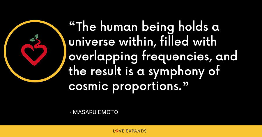 The human being holds a universe within, filled with overlapping frequencies, and the result is a symphony of cosmic proportions. - Masaru Emoto