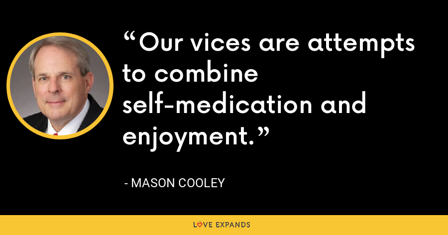 Our vices are attempts to combine self-medication and enjoyment. - Mason Cooley
