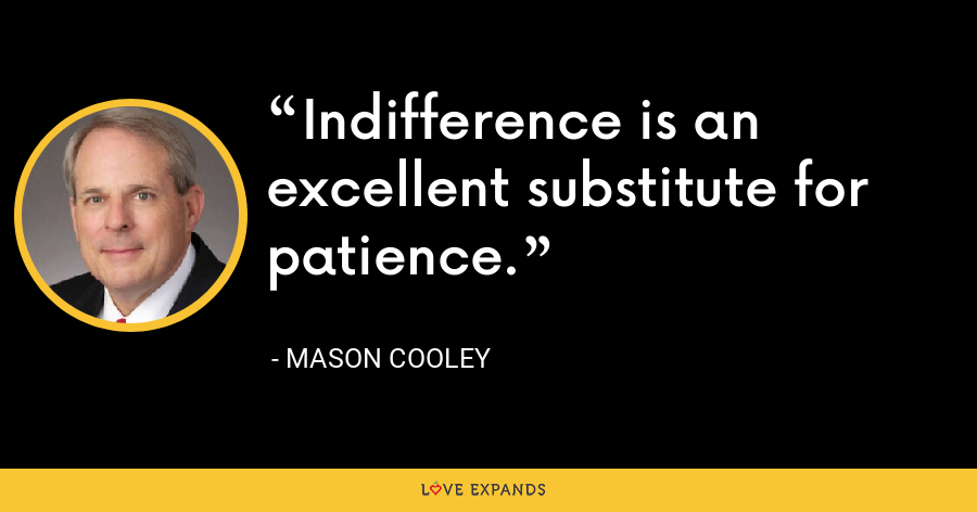 Indifference is an excellent substitute for patience. - Mason Cooley