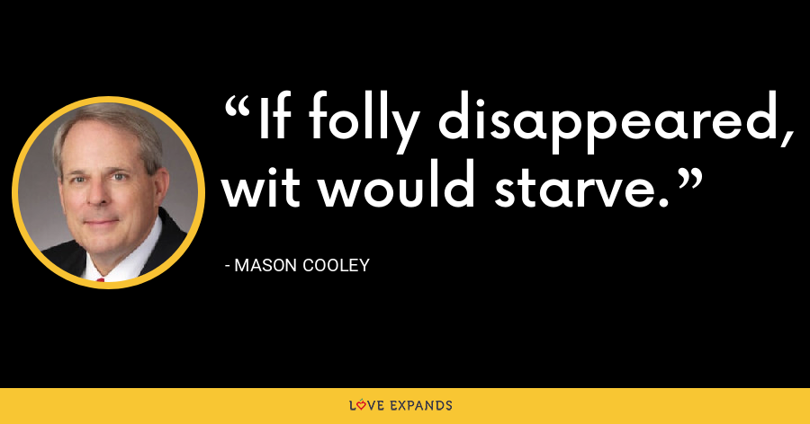 If folly disappeared, wit would starve. - Mason Cooley
