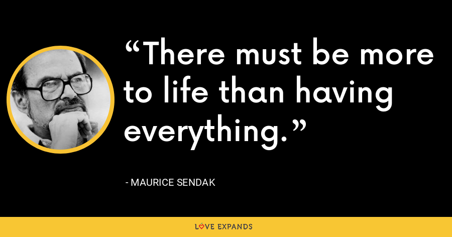 There must be more to life than having everything. - Maurice Sendak