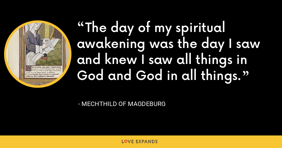 The day of my spiritual awakening was the day I saw and knew I saw all things in God and God in all things. - Mechthild of Magdeburg