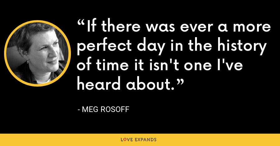 If there was ever a more perfect day in the history of time it isn't one I've heard about. - Meg Rosoff