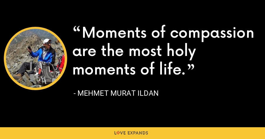 Moments of compassion are the most holy moments of life. - Mehmet Murat Ildan
