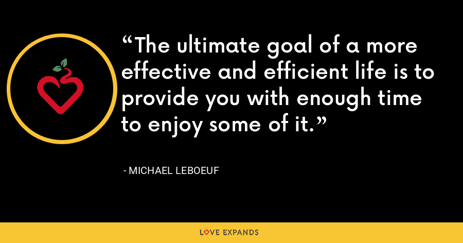 The ultimate goal of a more effective and efficient life is to provide you with enough time to enjoy some of it. - Michael LeBoeuf