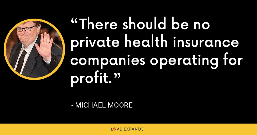 There should be no private health insurance companies operating for profit. - Michael Moore