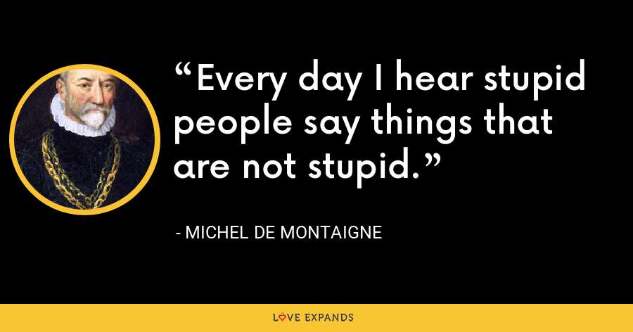 Every day I hear stupid people say things that are not stupid. - Michel de Montaigne