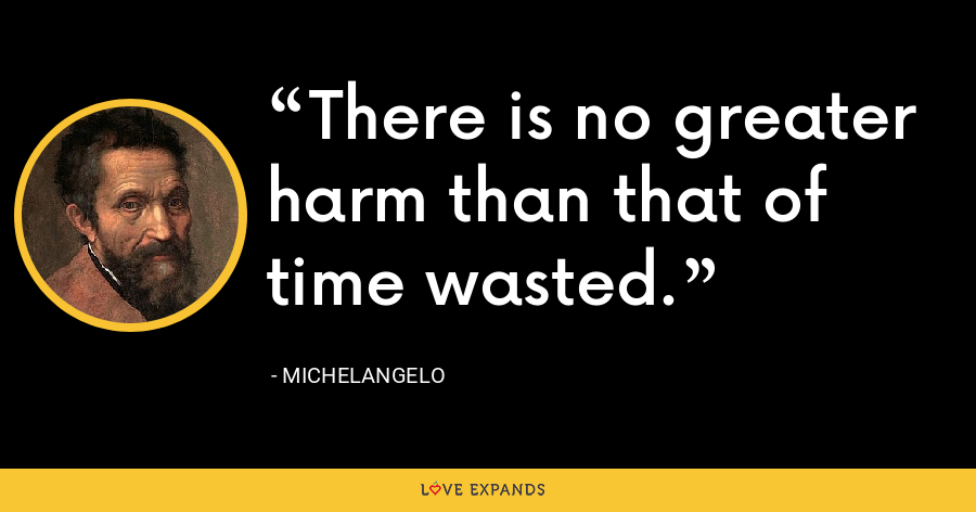 There is no greater harm than that of time wasted. - Michelangelo