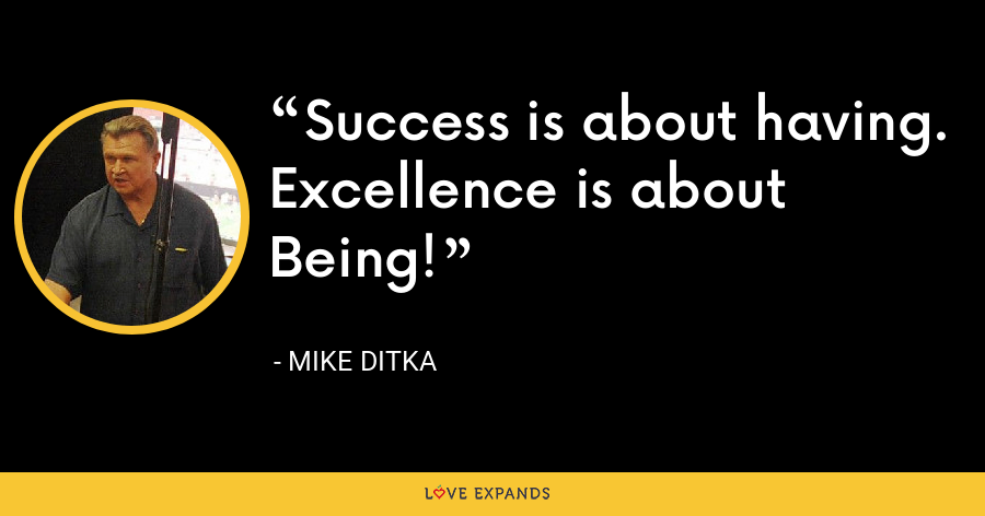 Success is about having. Excellence is about Being! - Mike Ditka