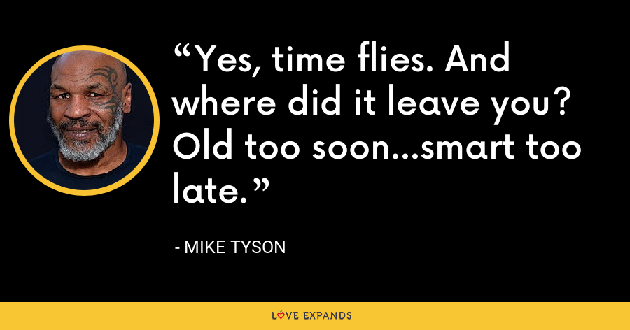 Yes, time flies. And where did it leave you? Old too soon...smart too late. - Mike Tyson