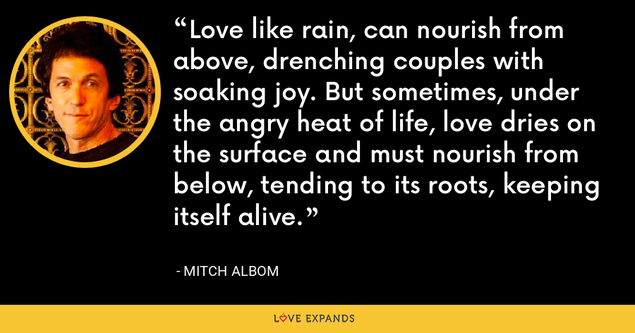 Love like rain, can nourish from above, drenching couples with soaking joy. But sometimes, under the angry heat of life, love dries on the surface and must nourish from below, tending to its roots, keeping itself alive. - Mitch Albom