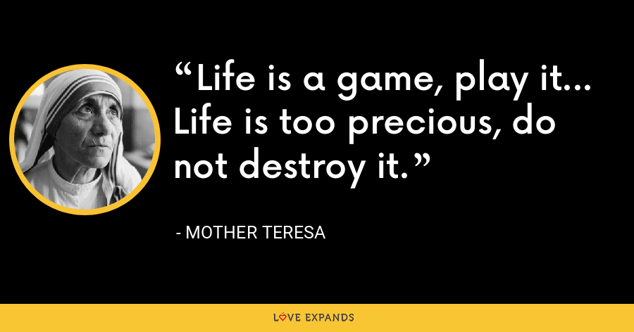 Life is a game, play it... Life is too precious, do not destroy it. - Mother Teresa