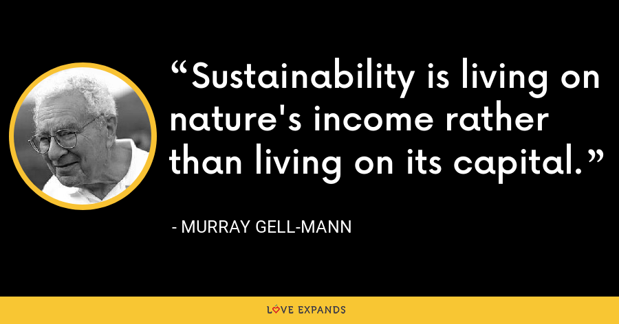 Sustainability is living on nature's income rather than living on its capital. - Murray Gell-Mann