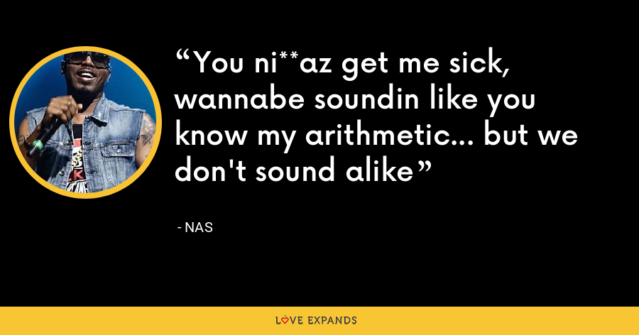 You ni**az get me sick, wannabe soundin like you know my arithmetic... but we don't sound alike - Nas