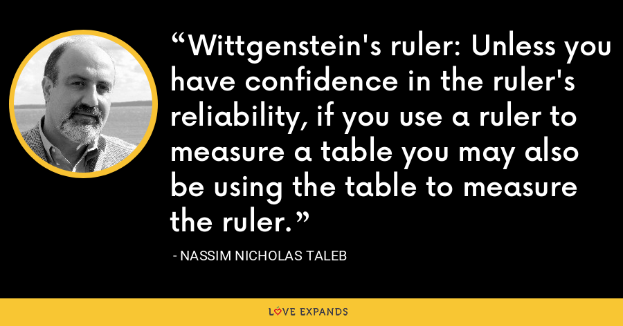 Wittgenstein's ruler: Unless you have confidence in the ruler's reliability, if you use a ruler to measure a table you may also be using the table to measure the ruler. - Nassim Nicholas Taleb