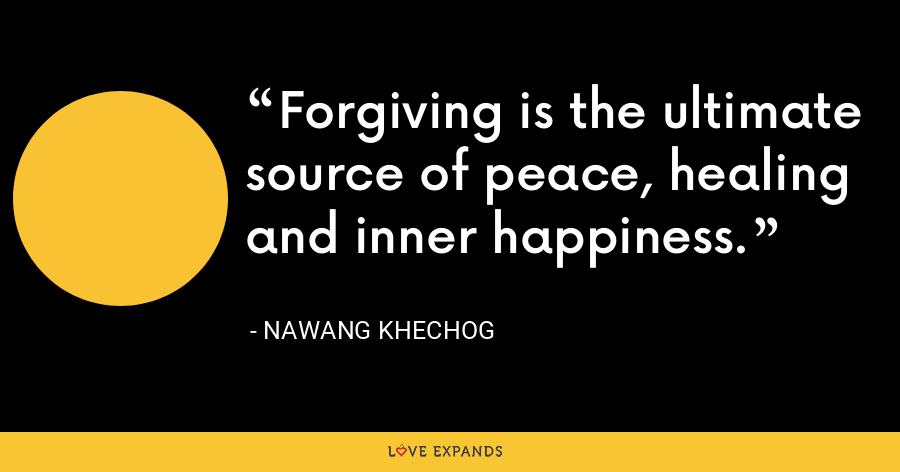 Forgiving is the ultimate source of peace, healing and inner happiness. - Nawang Khechog