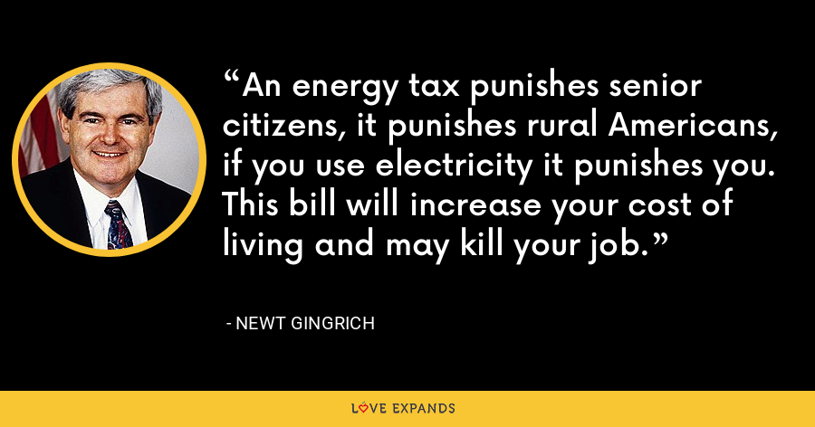 An energy tax punishes senior citizens, it punishes rural Americans, if you use electricity it punishes you. This bill will increase your cost of living and may kill your job. - Newt Gingrich