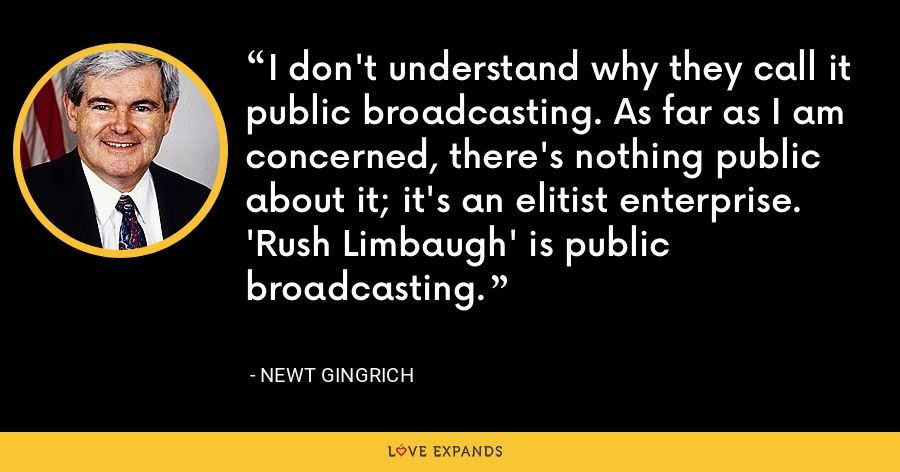 I don't understand why they call it public broadcasting. As far as I am concerned, there's nothing public about it; it's an elitist enterprise. 'Rush Limbaugh' is public broadcasting. - Newt Gingrich