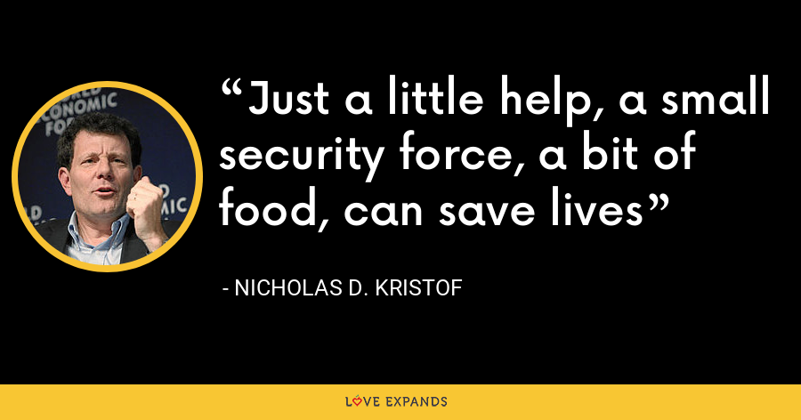 Just a little help, a small security force, a bit of food, can save lives - Nicholas D. Kristof