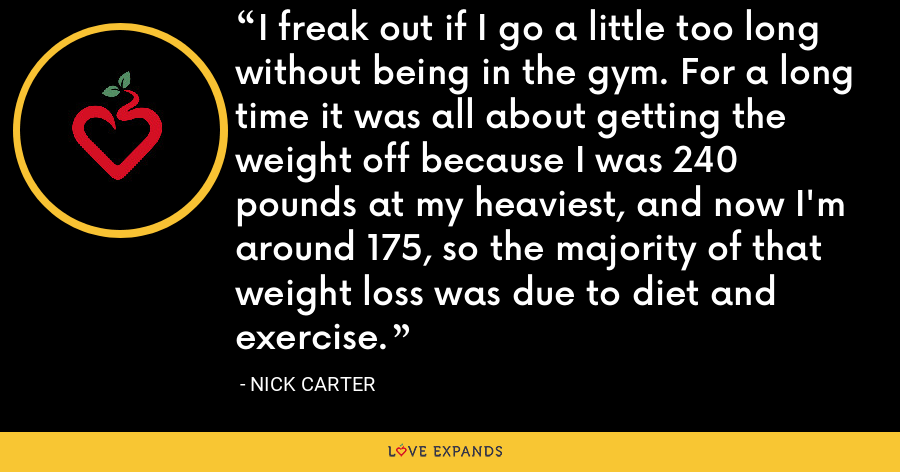 I freak out if I go a little too long without being in the gym. For a long time it was all about getting the weight off because I was 240 pounds at my heaviest, and now I'm around 175, so the majority of that weight loss was due to diet and exercise. - Nick Carter