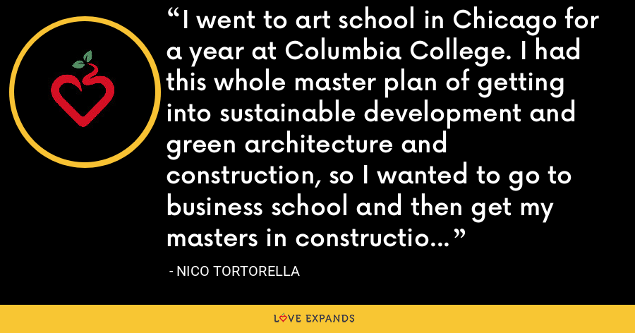 I went to art school in Chicago for a year at Columbia College. I had this whole master plan of getting into sustainable development and green architecture and construction, so I wanted to go to business school and then get my masters in construction and development. - Nico Tortorella