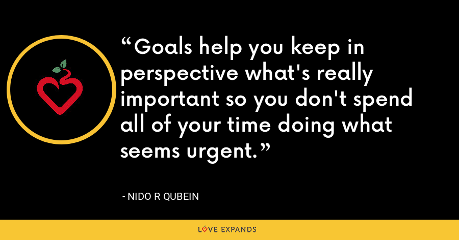 Goals help you keep in perspective what's really important so you don't spend all of your time doing what seems urgent. - Nido R Qubein