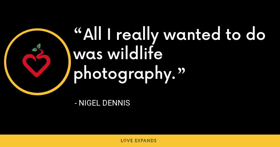 All I really wanted to do was wildlife photography. - Nigel Dennis
