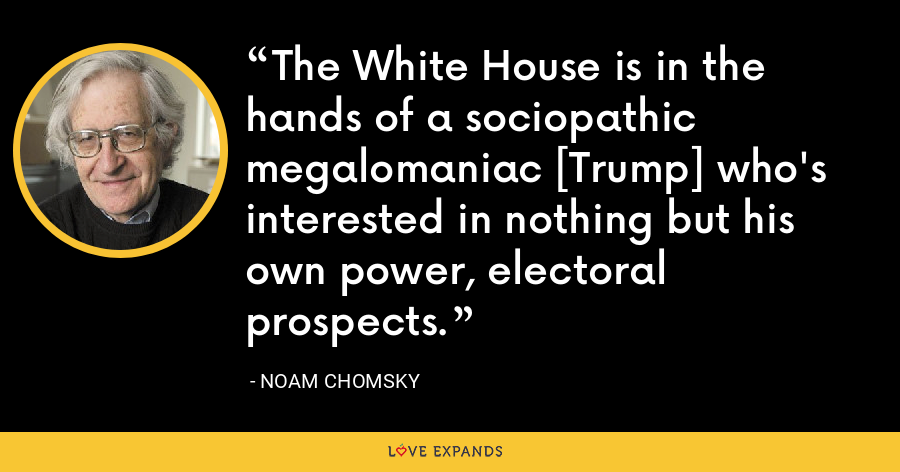 The White House is in the hands of a sociopathic megalomaniac [Trump] who's interested in nothing but his own power, electoral prospects. - Noam Chomsky