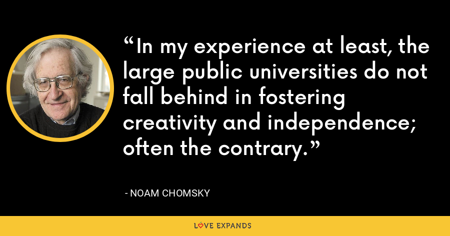 In my experience at least, the large public universities do not fall behind in fostering creativity and independence; often the contrary. - Noam Chomsky