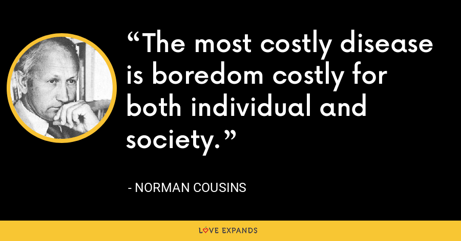 The most costly disease is boredom costly for both individual and society. - Norman Cousins