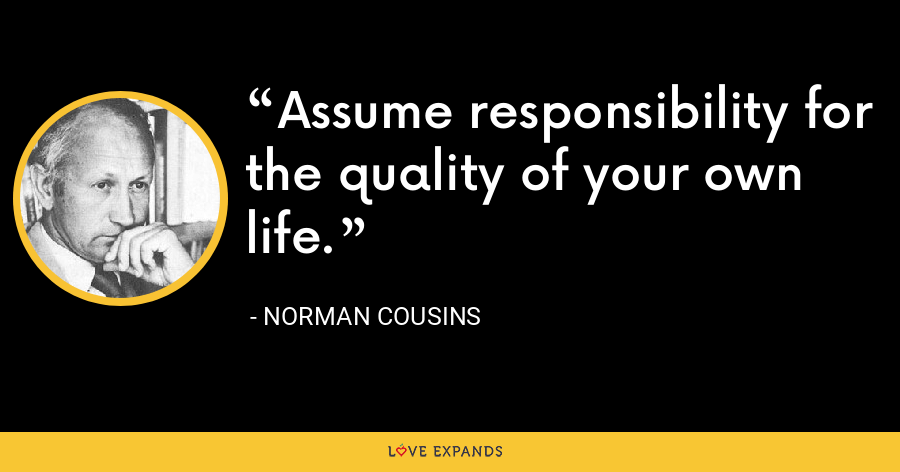 Assume responsibility for the quality of your own life - Norman Cousins