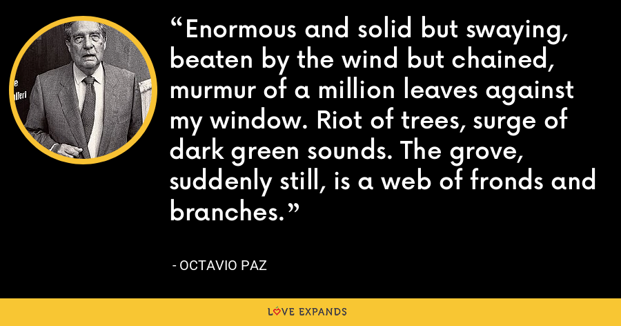 Enormous and solid but swaying, beaten by the wind but chained, murmur of a million leaves against my window. Riot of trees, surge of dark green sounds. The grove, suddenly still, is a web of fronds and branches. - Octavio Paz