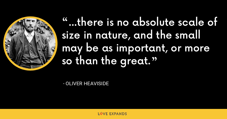...there is no absolute scale of size in nature, and the small may be as important, or more so than the great. - Oliver Heaviside