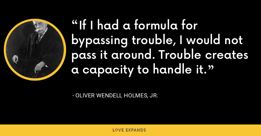 If I had a formula for bypassing trouble, I would not pass it around. Trouble creates a capacity to handle it. - Oliver Wendell Holmes, Jr.