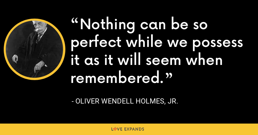 Nothing can be so perfect while we possess it as it will seem when remembered. - Oliver Wendell Holmes, Jr.