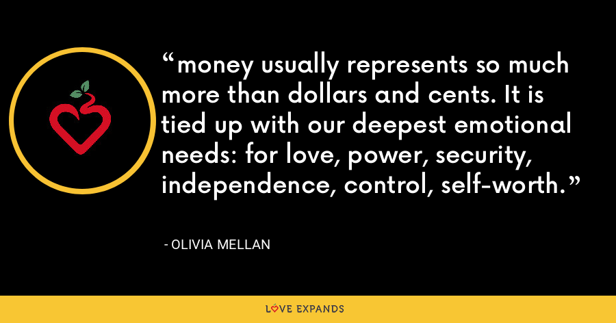 money usually represents so much more than dollars and cents. It is tied up with our deepest emotional needs: for love, power, security, independence, control, self-worth. - Olivia Mellan