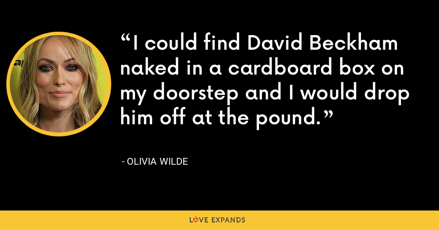 I could find David Beckham naked in a cardboard box on my doorstep and I would drop him off at the pound. - Olivia Wilde