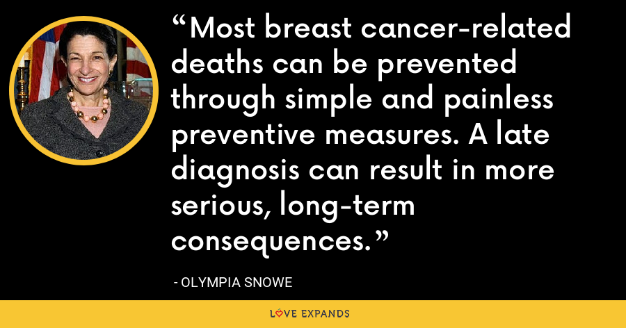 Most breast cancer-related deaths can be prevented through simple and painless preventive measures. A late diagnosis can result in more serious, long-term consequences. - Olympia Snowe
