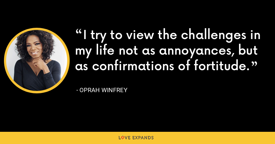 I try to view the challenges in my life not as annoyances, but as confirmations of fortitude. - Oprah Winfrey