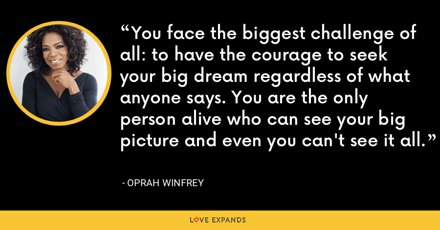 You face the biggest challenge of all: to have the courage to seek your big dream regardless of what anyone says. You are the only person alive who can see your big picture and even you can't see it all. - Oprah Winfrey