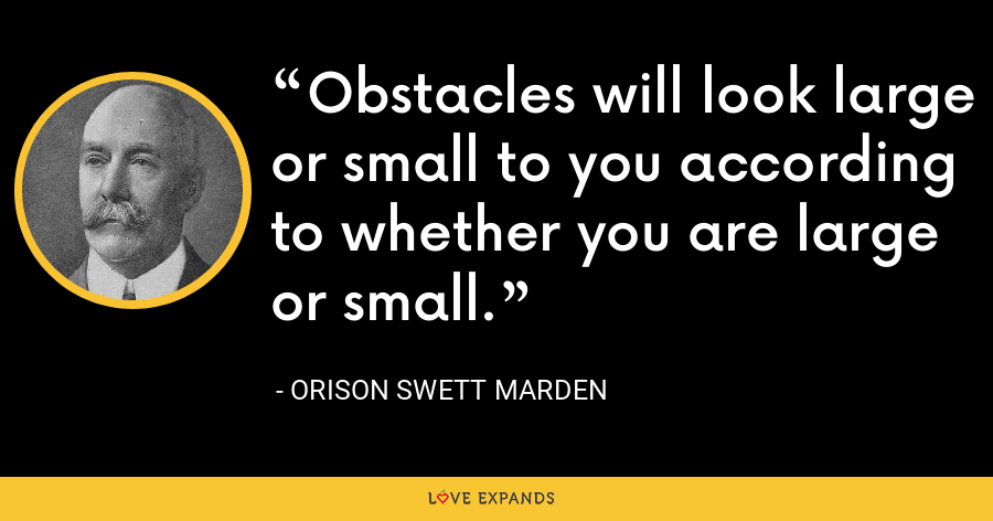Obstacles will look large or small to you according to whether you are large or small. - Orison Swett Marden