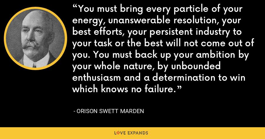 You must bring every particle of your energy, unanswerable resolution, your best efforts, your persistent industry to your task or the best will not come out of you. You must back up your ambition by your whole nature, by unbounded enthusiasm and a determination to win which knows no failure. - Orison Swett Marden