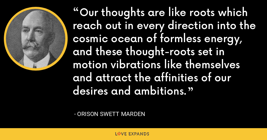 Our thoughts are like roots which reach out in every direction into the cosmic ocean of formless energy, and these thought-roots set in motion vibrations like themselves and attract the affinities of our desires and ambitions. - Orison Swett Marden