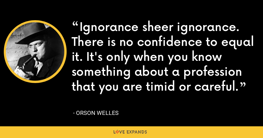 Ignorance sheer ignorance. There is no confidence to equal it. It's only when you know something about a profession that you are timid or careful. - Orson Welles